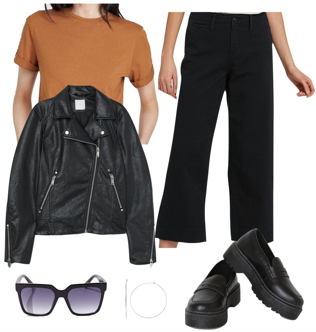 Dakota Johnson Outfit #1: black high rise wide leg cropped pants, platform loafers, black faux leather biker jacket, rust t-shirt, silver thin hoop earrings, black oversized sunglasses