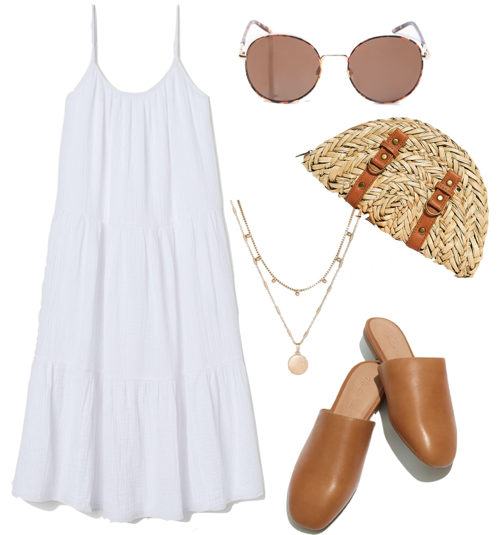 Dakota Johnson Outfit #2: tiered white long sun dress, tortoiseshell round sunglasses, straw clutch bag, gold layered necklace, and tan leather flat mules