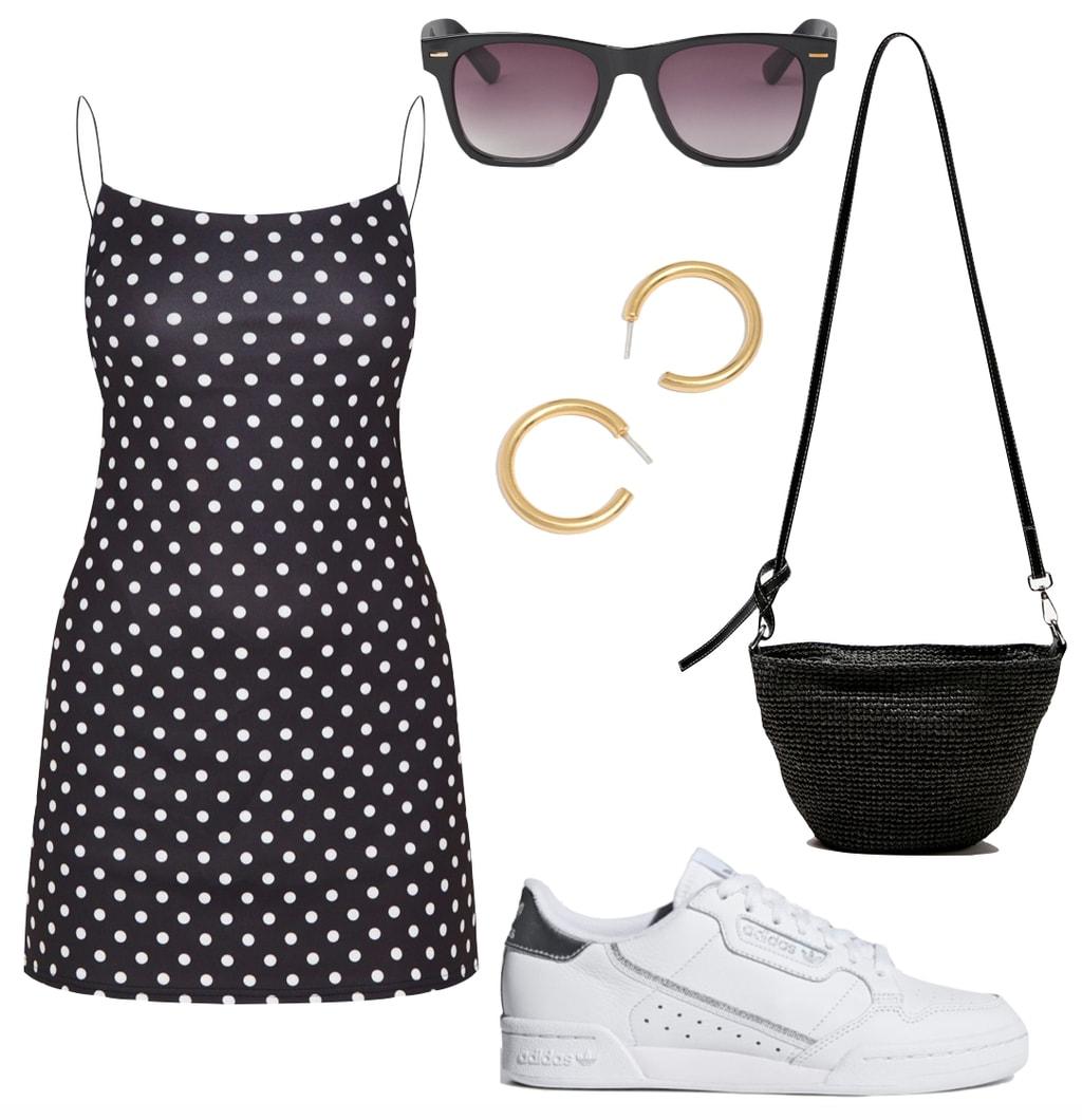 Dress and sneakers style - Emily Ratajkowski Outfit: polka dot spaghetti strap mini dress, black wayfarer sunglasses, chunky gold hoop earrings, black straw crossbody bag, and Adidas Continental 80 sneakers