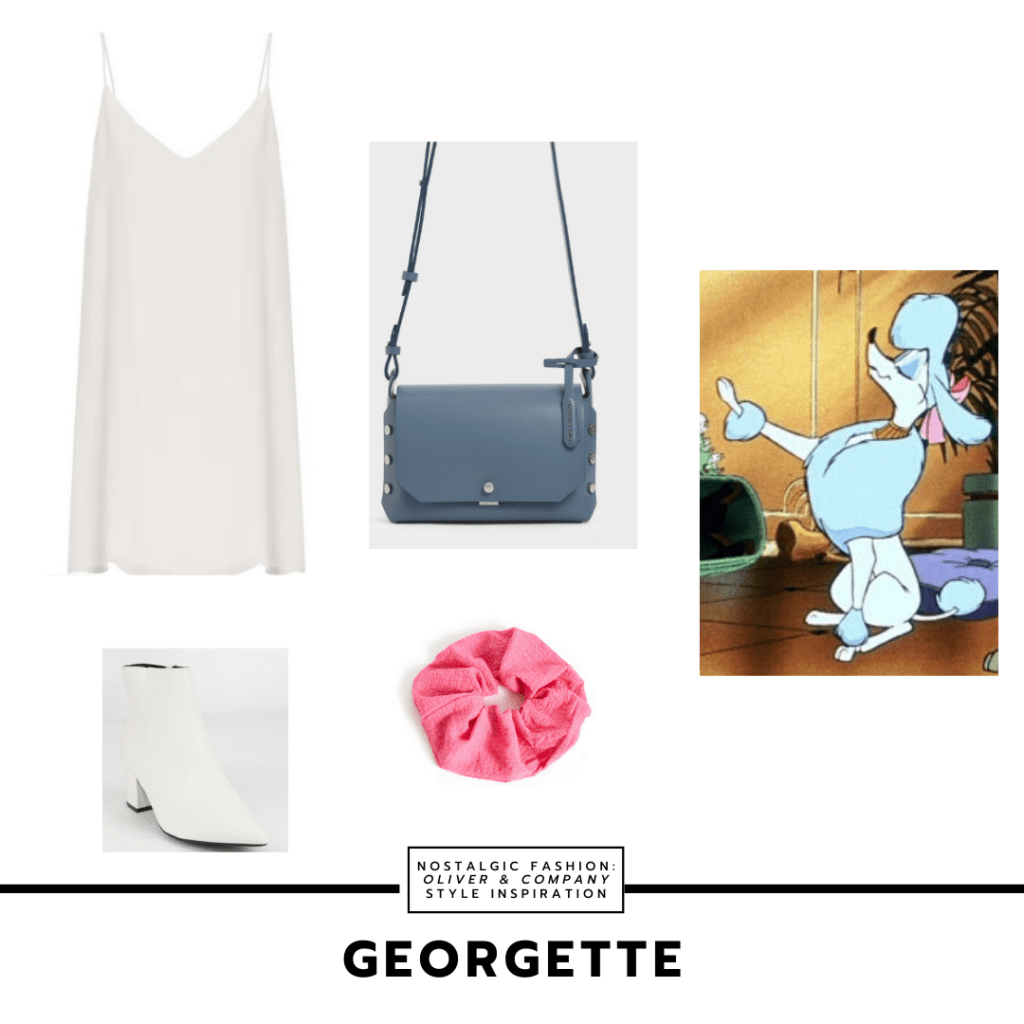 Outfit inspired by Georgette from Oliver and Company with white v-neck dress, white boots, pink scrunchie, blue purse