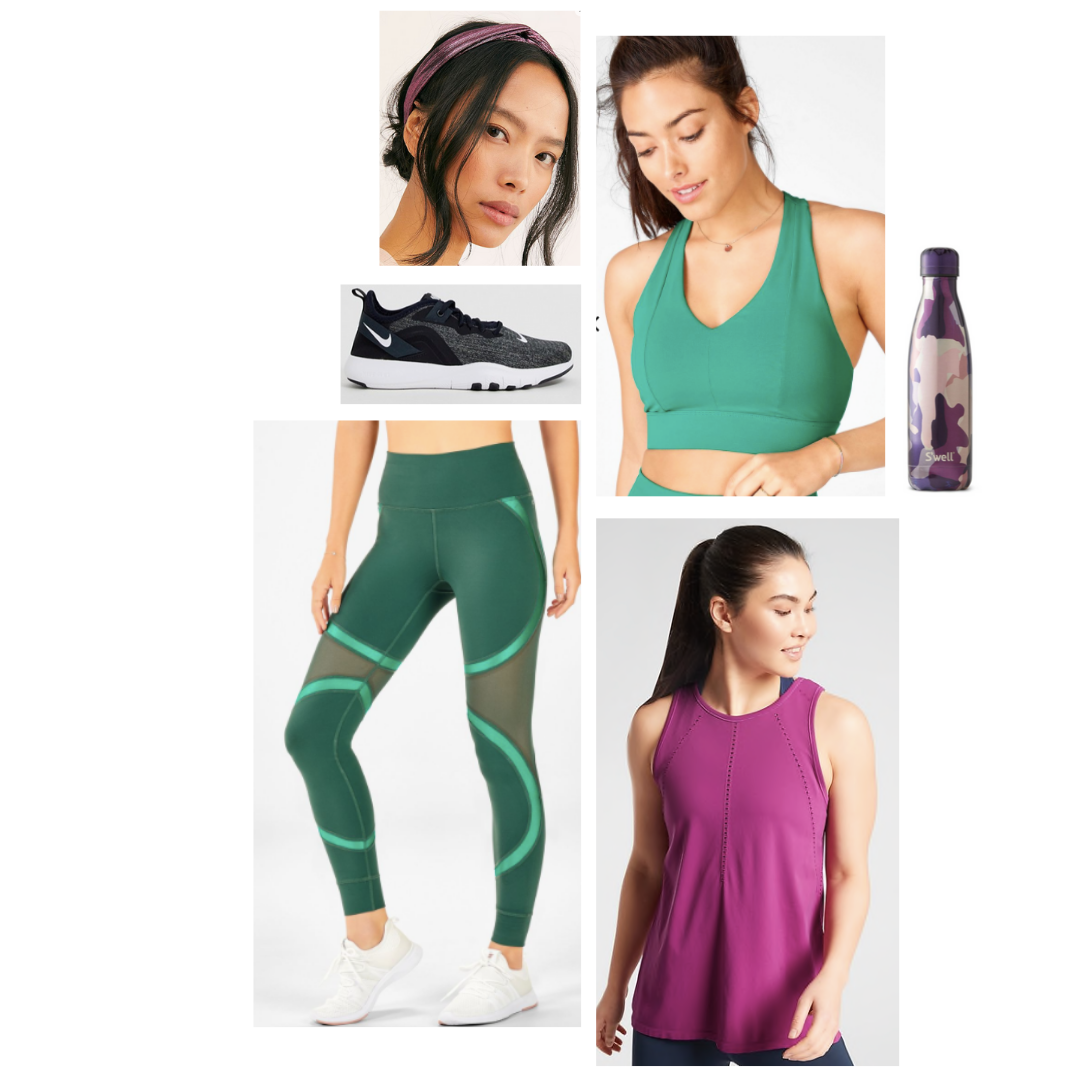 Activewear outfit inspired by Gamora: green long line sports bra, patterned green tights with sheet panels, pink tank, black sneakers