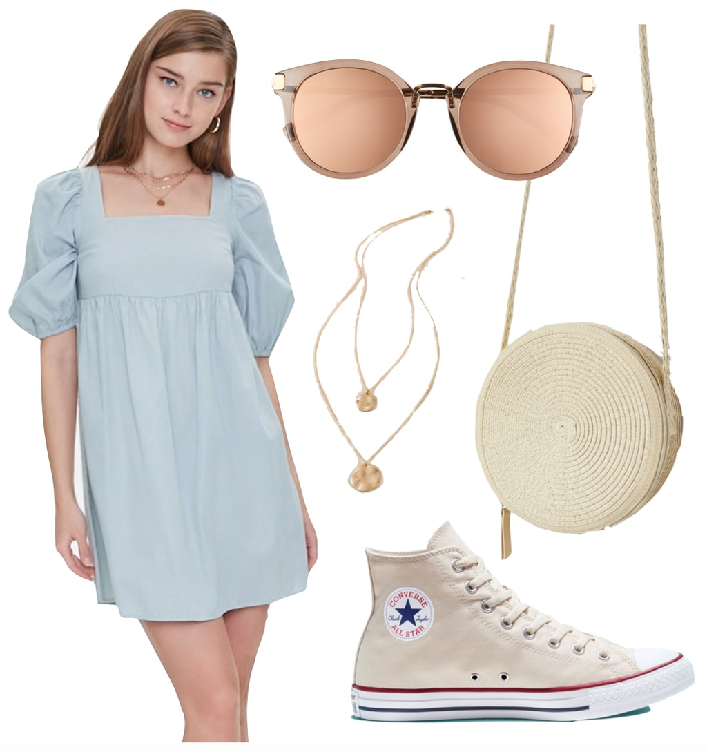 Kate Mara Outfit: blue peasant mini dress, gold layered necklace, round sunglasses, woven straw crossbody bag, and cream Converse All Star sneakers