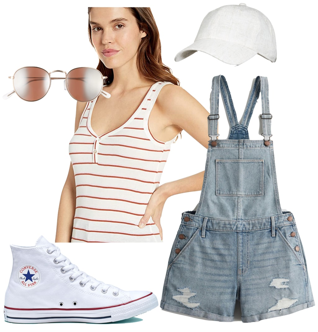 Lili Reinhart Outfit: red and white striped tank top, denim overalls shorts, white baseball cap, round metal sunglasses, and white Converse All Star Chuck Taylor sneakers