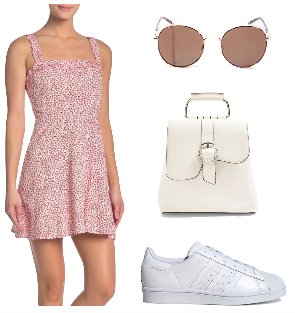 Lili Reinhart Outfit: pink floral print square neck mini dress, round tortoiseshell sunglasses, cream faux leather backpack, and white Adidas Superstar low top sneakers