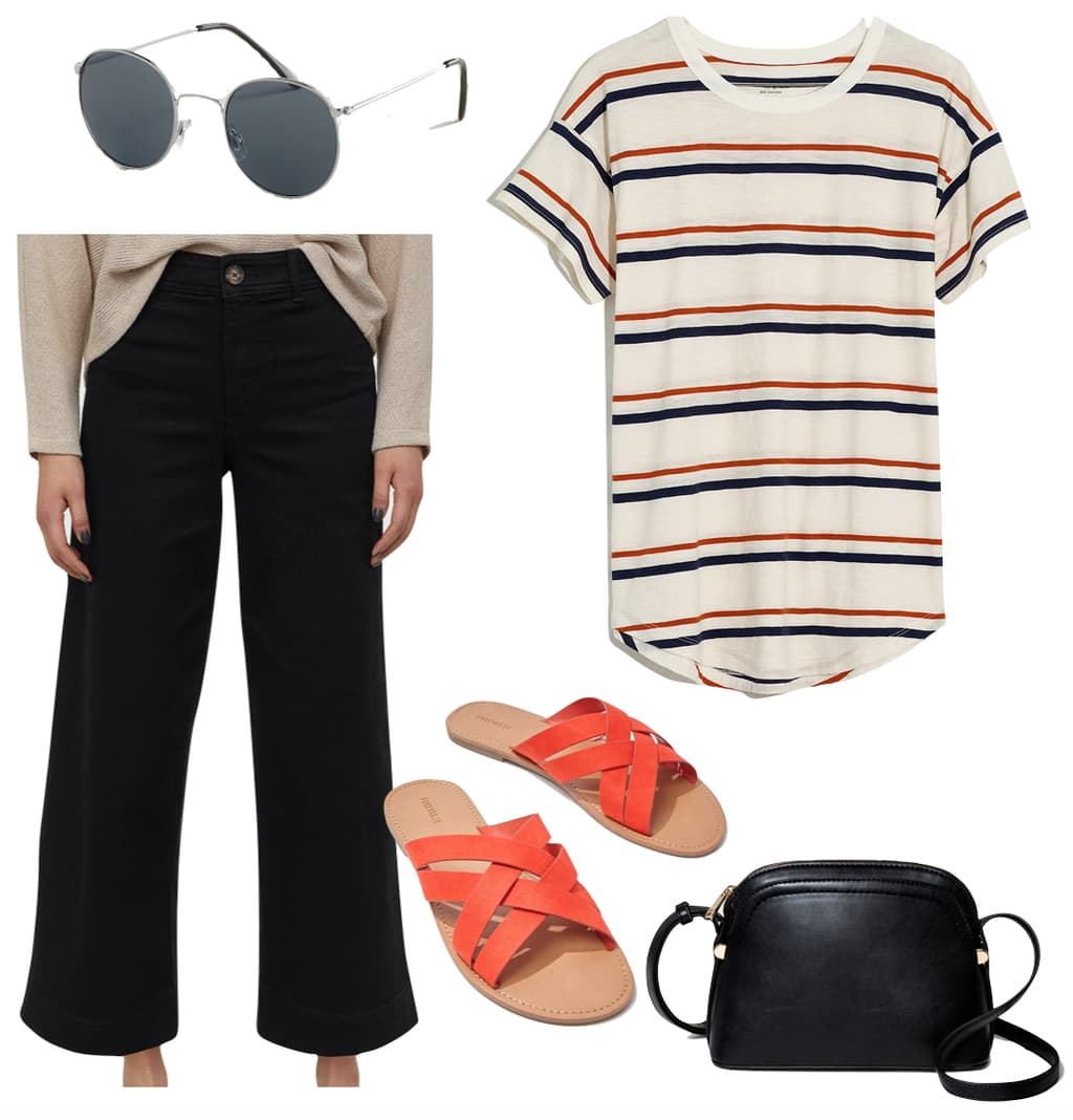 Lily Collins Outfit: wide striped t-shirt, black high waist twill pants, red flat slide sandals, black crossbody bag, and round sunglasses