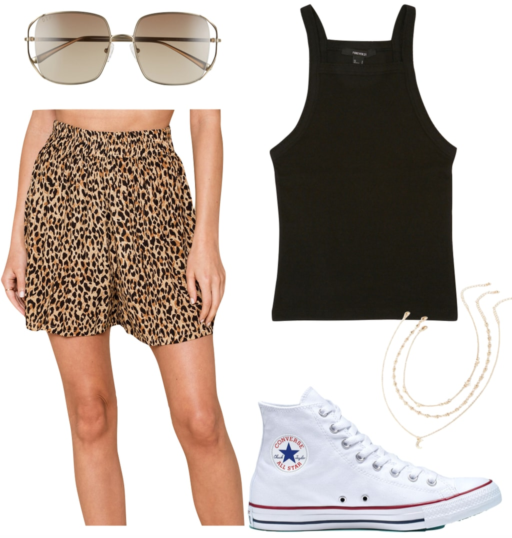 Lucy Hale Outfit: leopard print high waisted shorts, black tank top, metal square oversized sunglasses, gold layered necklace, and white Converse Chuck Taylor All Star sneakers