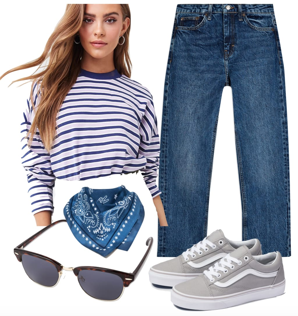 Lucy Hale stripe outfit: navy and white striped long sleeve top, dark blue straight leg jeans, blue bandana, club master sunglasses, and gray Vans Old Skool sneakers