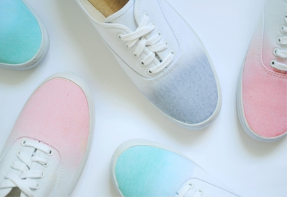 pastel ombre and white sneakers