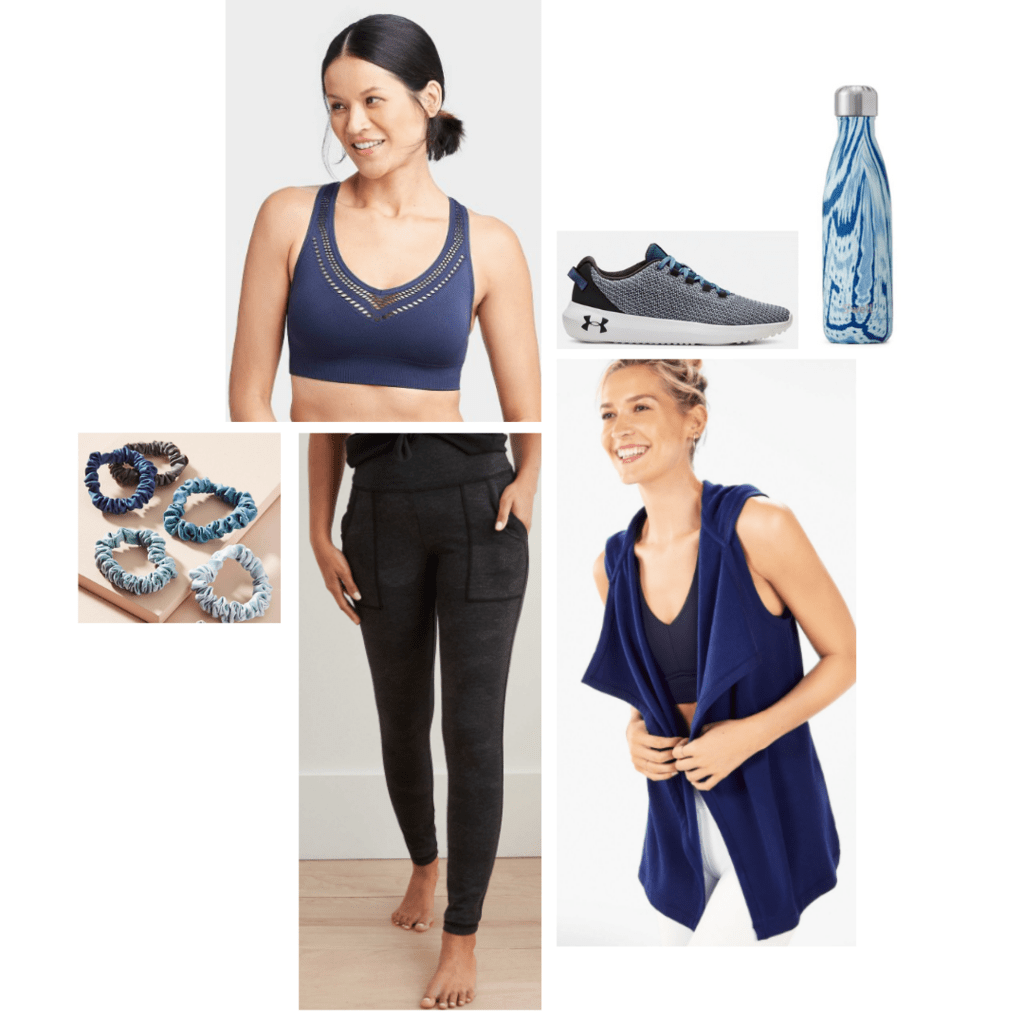 Activewear outfit inspired by Nebula: navy sports bra, grey lounge pants, navy vest, grey sneakers.