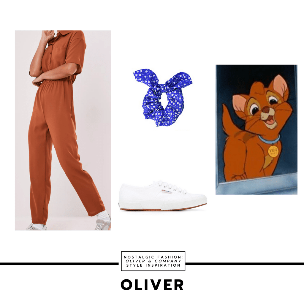 Disneybound outfit inspired by Oliver from Oliver & Company with brown jumpsuit, white sneakers, blue polka dot scrunchie