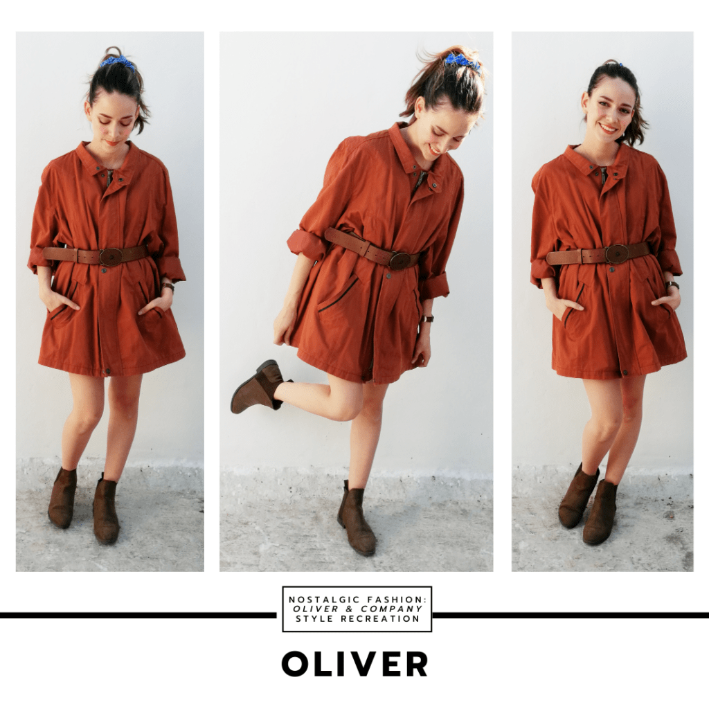 Disneybound style outfit inspired by the fashion in Oliver and Company - outfit inspired by Oliver with brown shirtdress, brown belt, and brown ankle boots, plus a blue hair ribbon