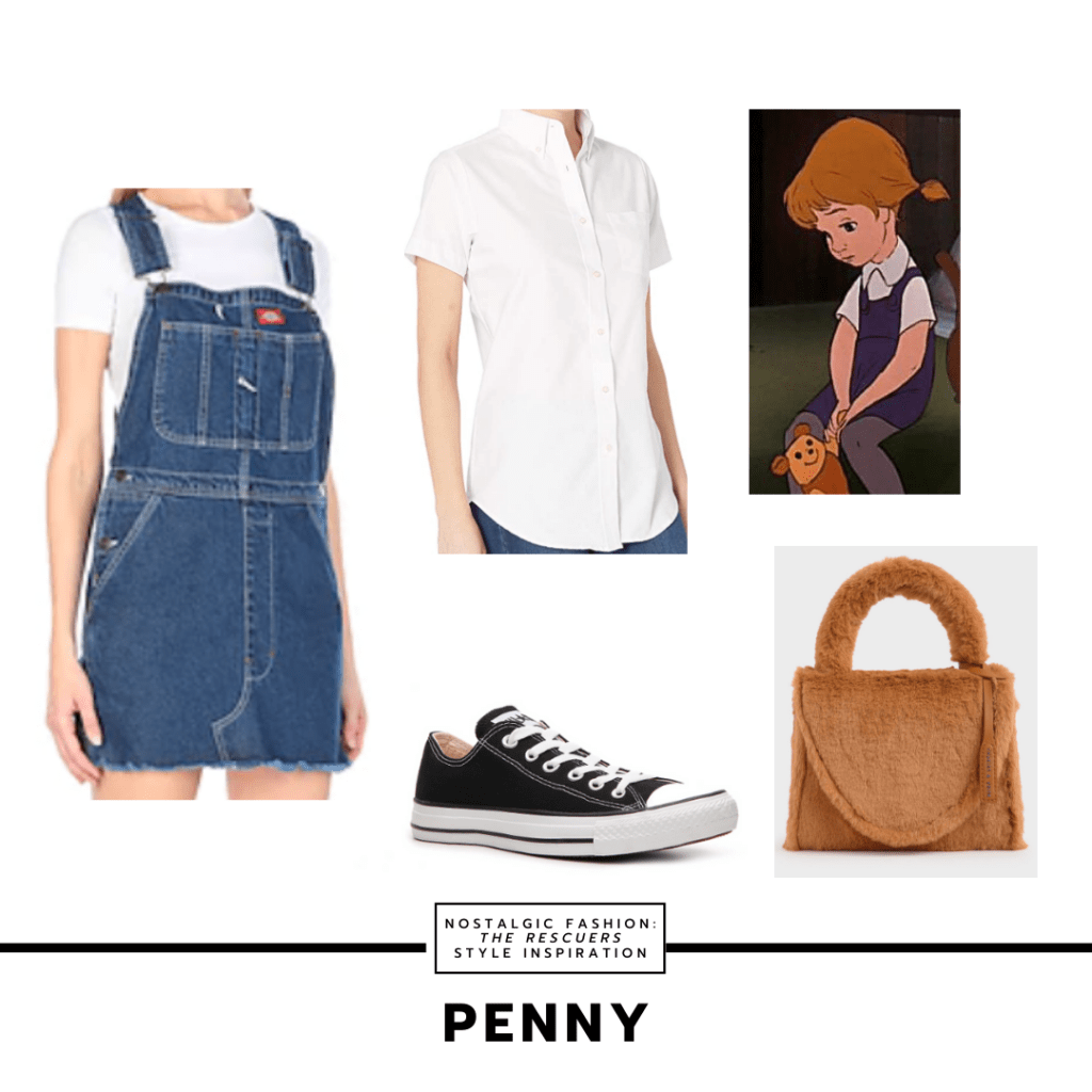 Outfit inspired by Penny from The Rescuers with white shirt, short overalls, teddy fur purse, and converse sneakers