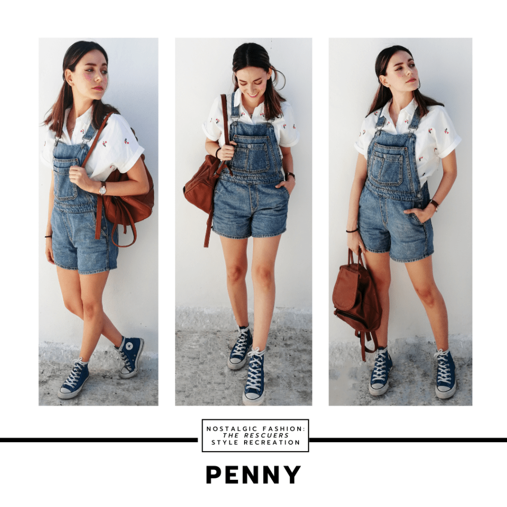 Disneybound outfit inspired by Penny from The Rescuers with denim overalls, white button down shirt, converse sneakers, mini backpack