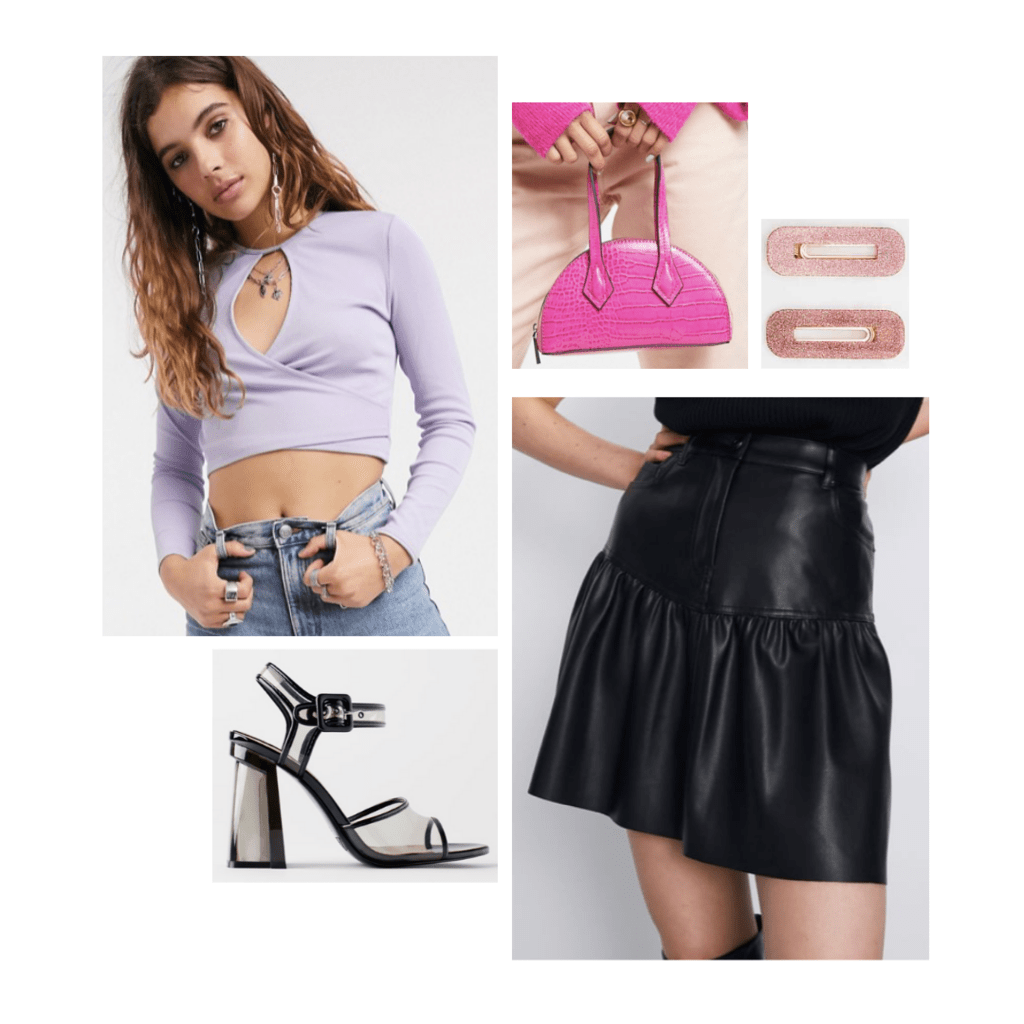 lady gaga chromatica fashion outfit: purple wrap crop top, black leather skirt, lucite chunky heels