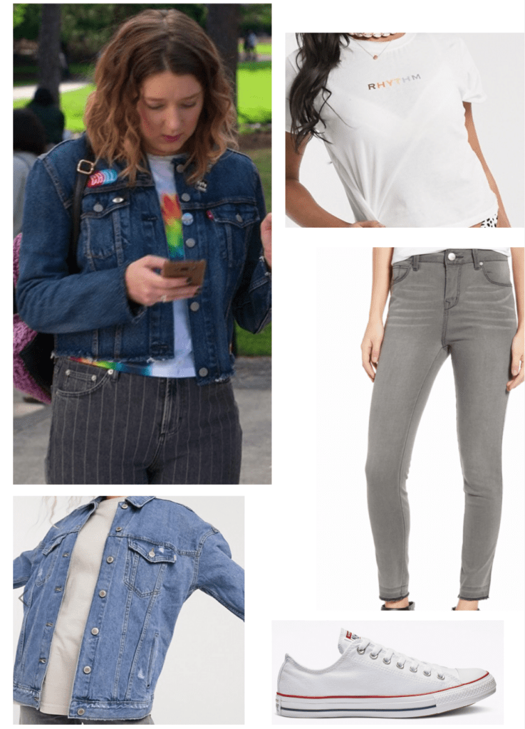 Insatiable TV show fashion - outfit inspired by Nonnie with gray jeans, a denim jacket, and Converse sneakers