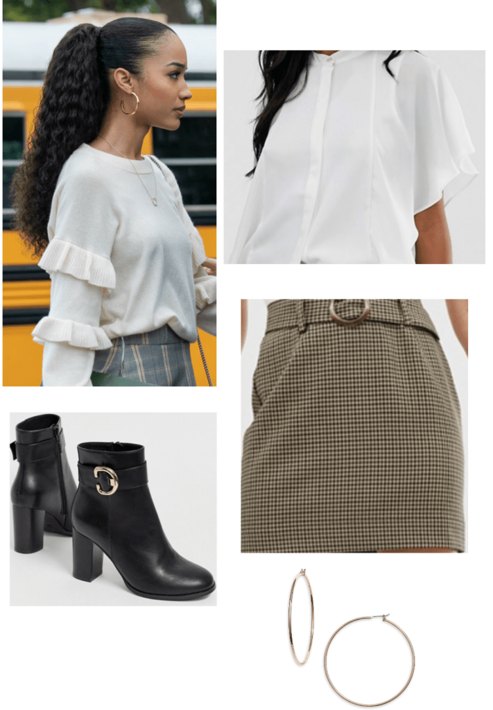 Insatiable fashion: outfits inspired by insatiable -- Magnolia outfit with white top, tweed skirt, ankle boots, hoop earrings