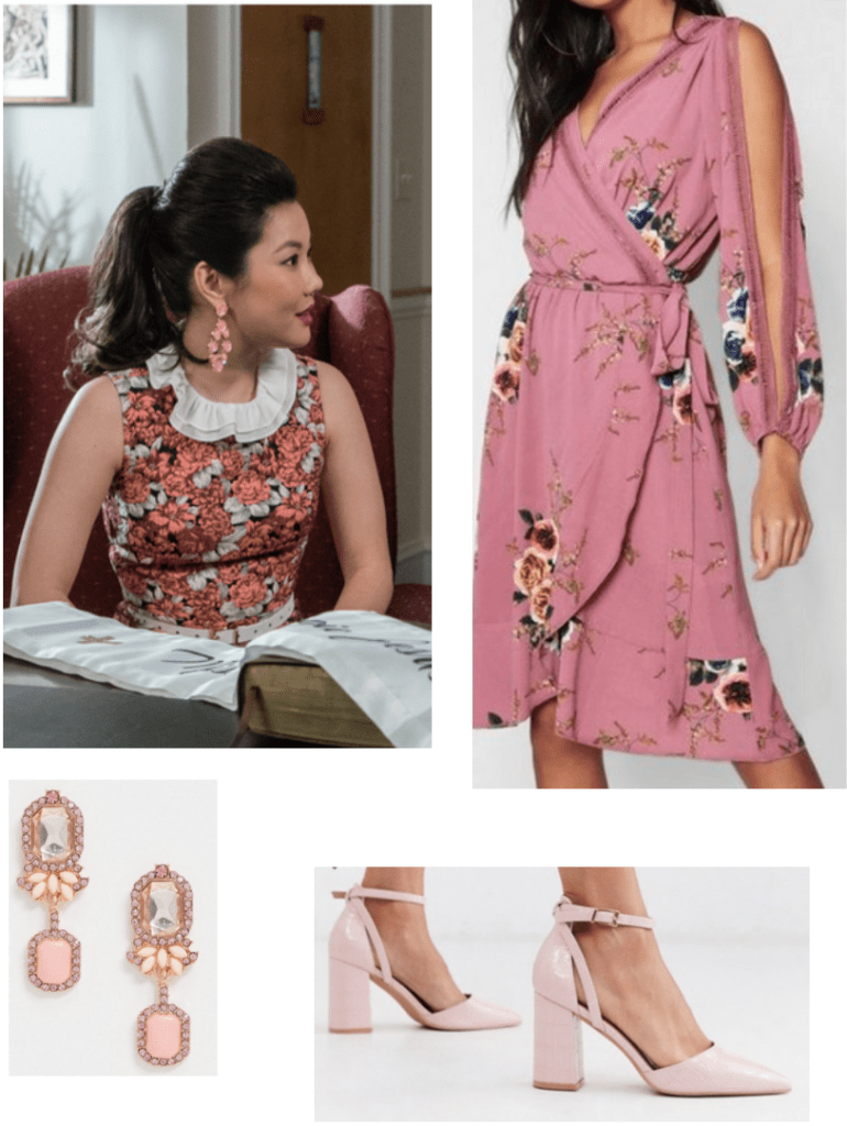 Dixie Sinclair outfit - Insatiable fashion guide. Outfit set inspired by Dixie's style with floral dress, pink high heels, and statement earrings