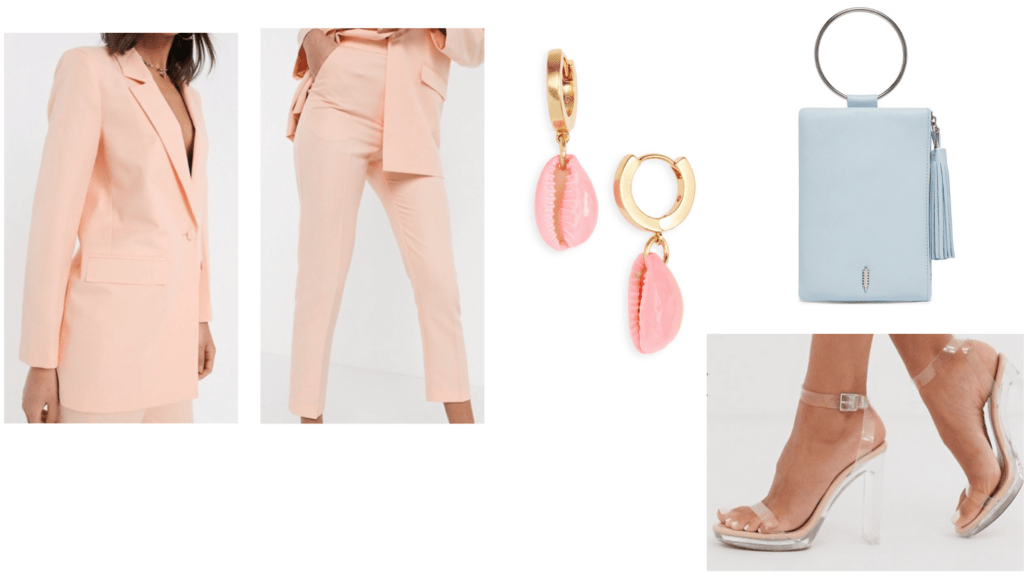 Pastel fashion guide: Pastel power suit outfit idea with pink suit, clear heels, light blue mini bag, shell earrings