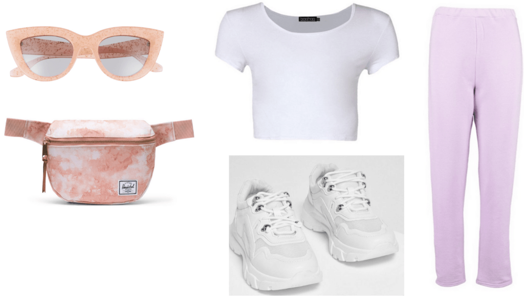 Pastel outfit idea with pink pastel joggers, white crop top, dad sneakers, light pink fanny pack, light pink sunglasses