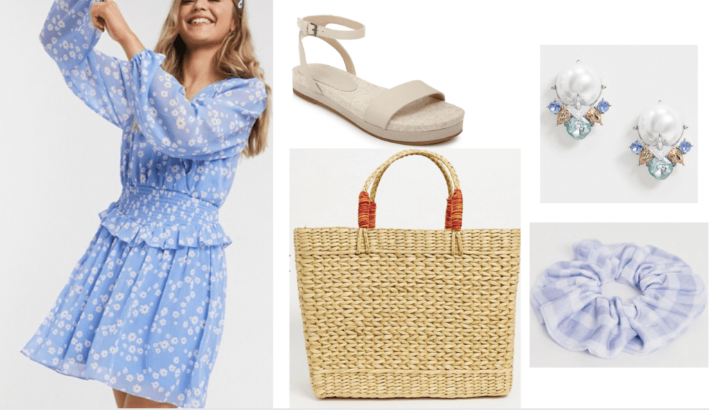 How to wear pastel fashion trend: Outfit idea with pastel dress, chunky sandals, statement earrings, woven bag, gingham scrunchie