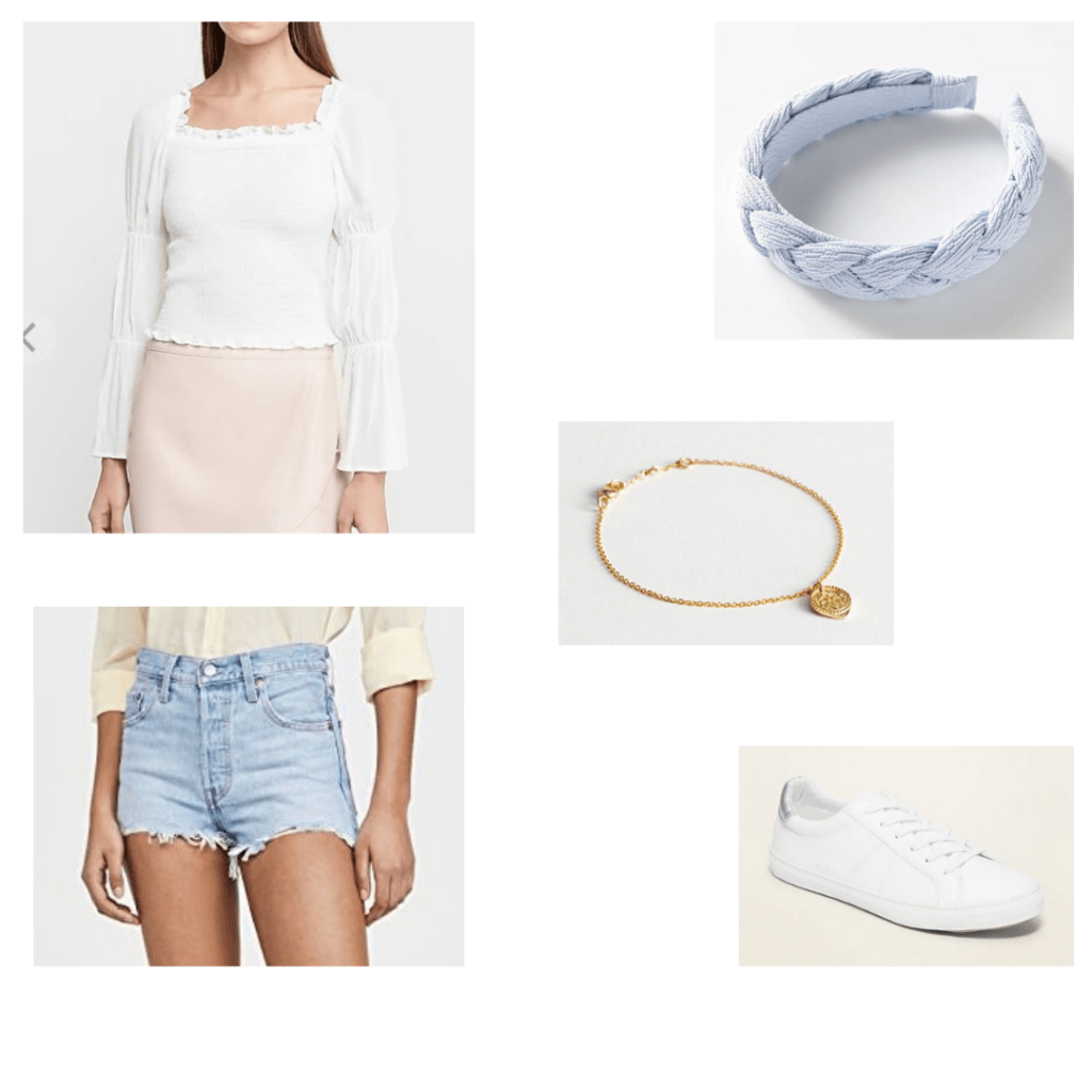 White smocked Express top, light denim Levi shorts, Urban outfitter headband, dainty bracelet and faux leather sneakers