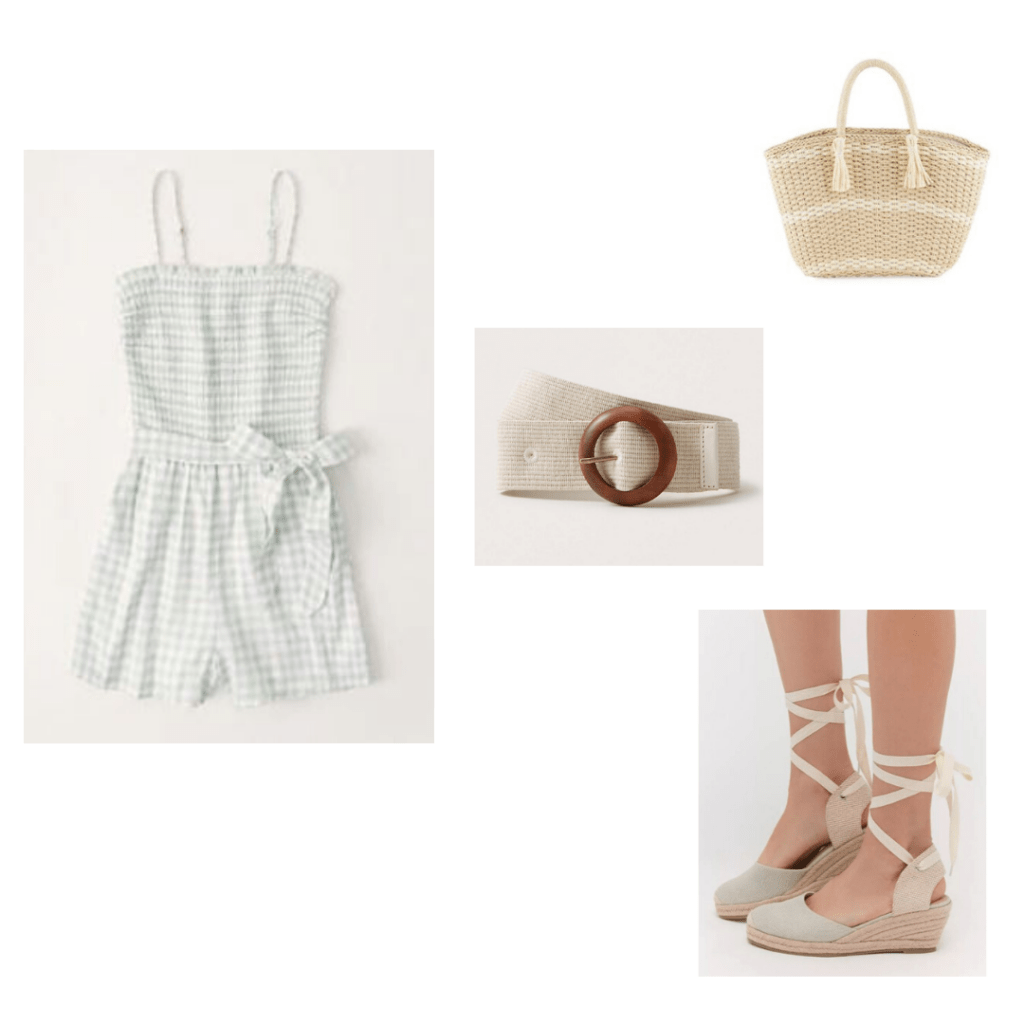 A&F Smocked romper, wicker tote bag, woven belt, blue canvas espadrille wedges