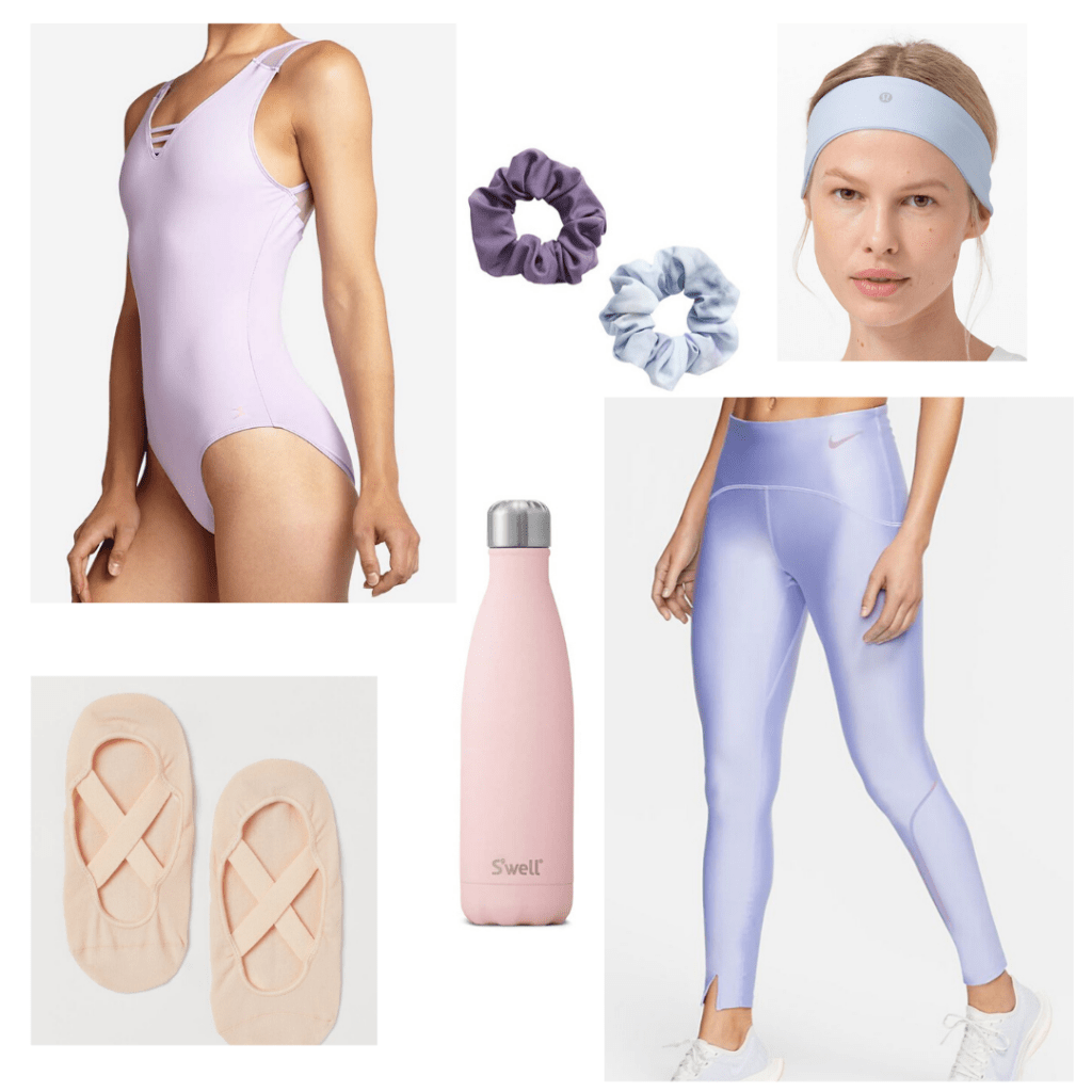 What to wear for a barre or tiktok dance workout, one of our favorite workouts for women: Pastel outfit with nike leggings, pastel bodysuit, headband, scrunchie