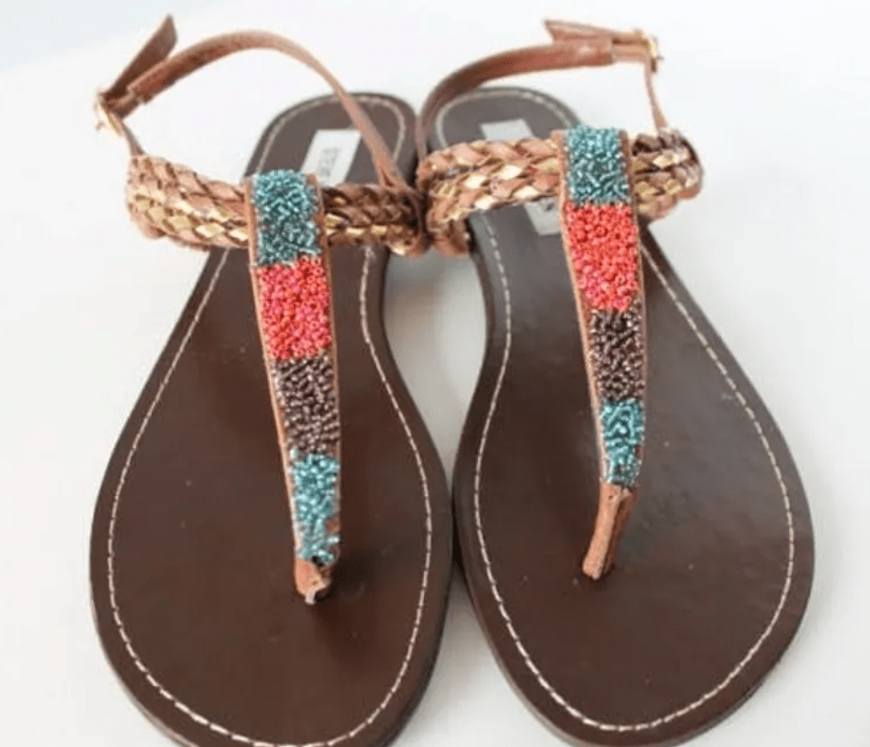sandals with colorful bead detail