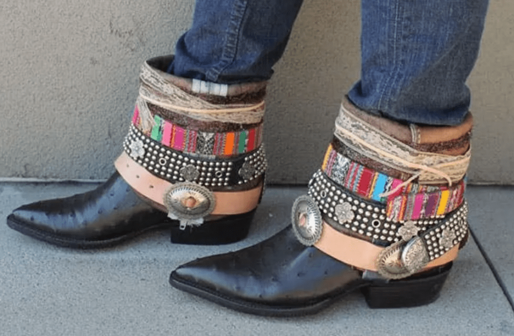 bohemian black boots with stacked multicolored belts