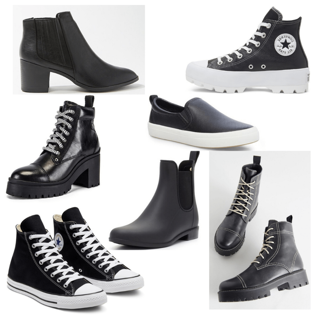 Shoes for college parties - black ankle boots, chunky heel Converse, chunky heel boots, slip ons, converse, lace up boots