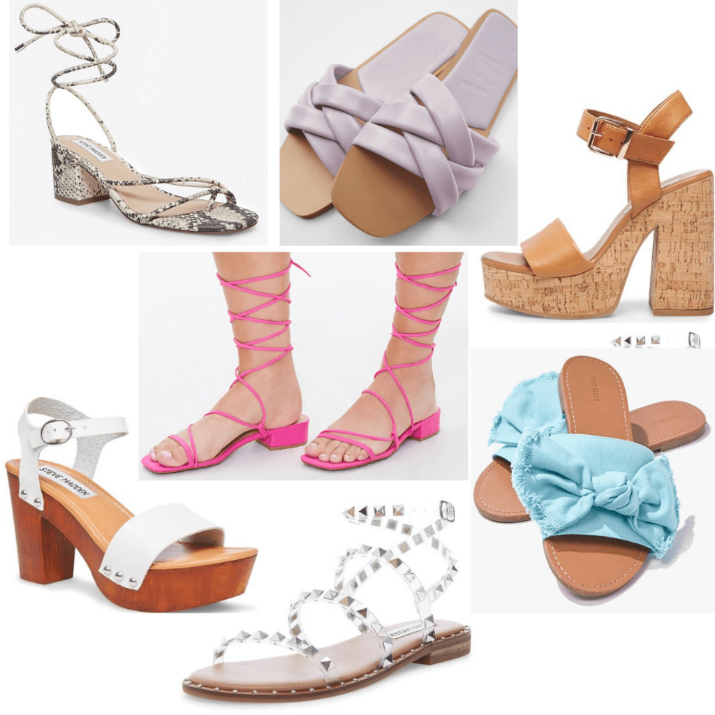 Shoes for college: Day out shoes, fancy shoes for daytime wear including platform sandals, basic studded sandals, and slides