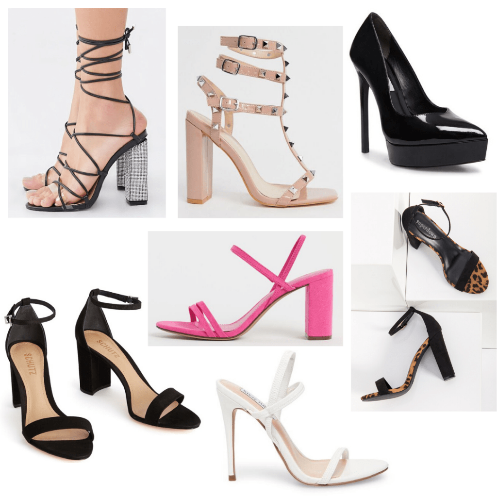 Fancy occasion shoes for college girls: Strappy heels, platform pumps, leopard print sandals, hot pink chunky heeled sandals