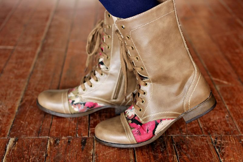 brown combat boots with pink flower details