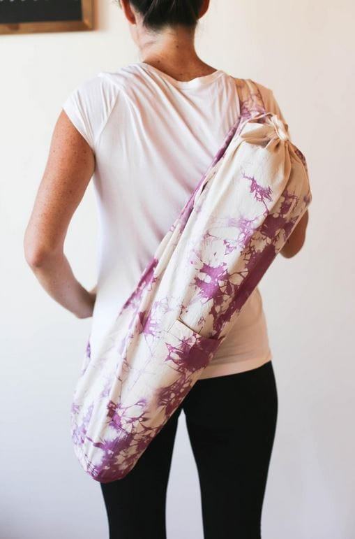 Mother's day gifts 2020: Purple dyed yoga mat bag.