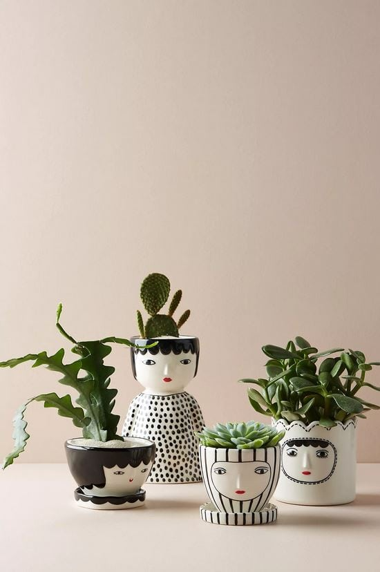 Mother's day gifts 2020: Ceramic face planters.