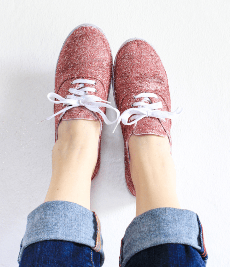 rose gold glitter sneakers with white laces
