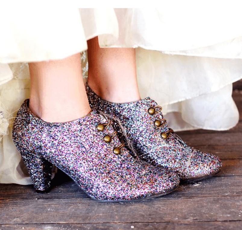 multicolor glitter boots