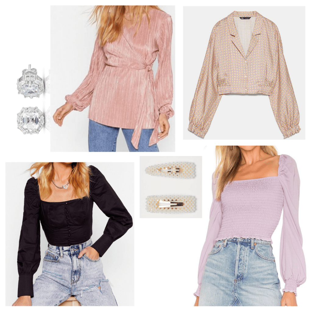 Online interview outfit idea - cute tops for online interviews, jewelry and hair accessories