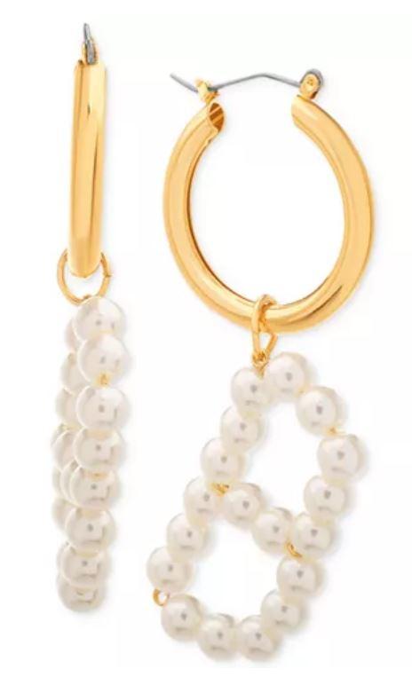 Pearl letter earrings.