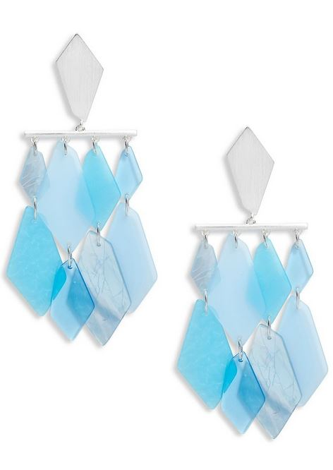 Jewelry trends 2020 - ocean materials. Example of sea glass earrings.