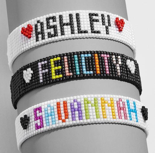 Beaded name bracelet.