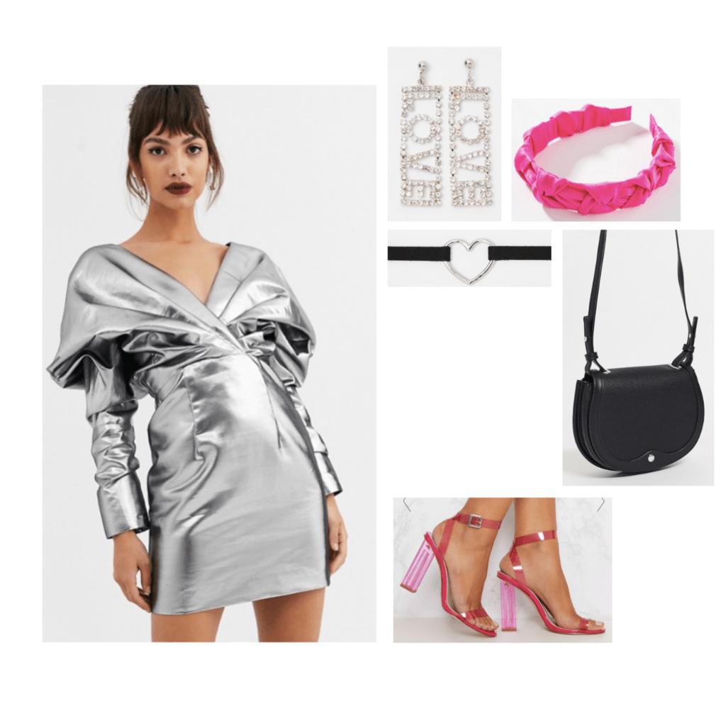 lady gaga chromatica fashion outfit: silver dress, pink heels, pink headband