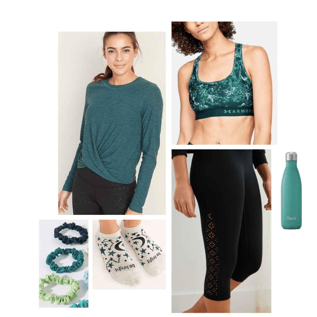 Activewear outfit inspired by Mantis: long-sleeve blue-green shirt, patterned green sports bra, black leggings, patterned socks