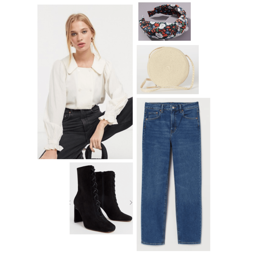 Outfit inspired by The Great: white button up blouse, boyfriend jeans, black boots, straw circle bag.
