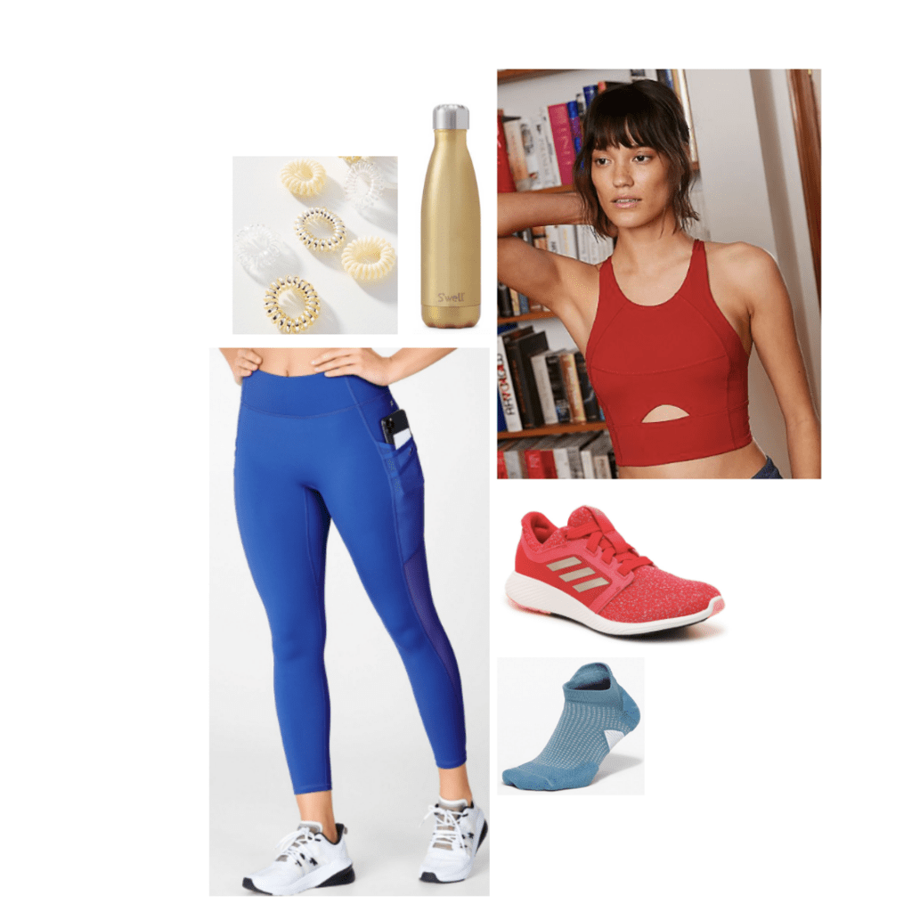 Captain Marvel inspired athleticwear look: red long-line crop top with cutout, blue leggings, red sneakers