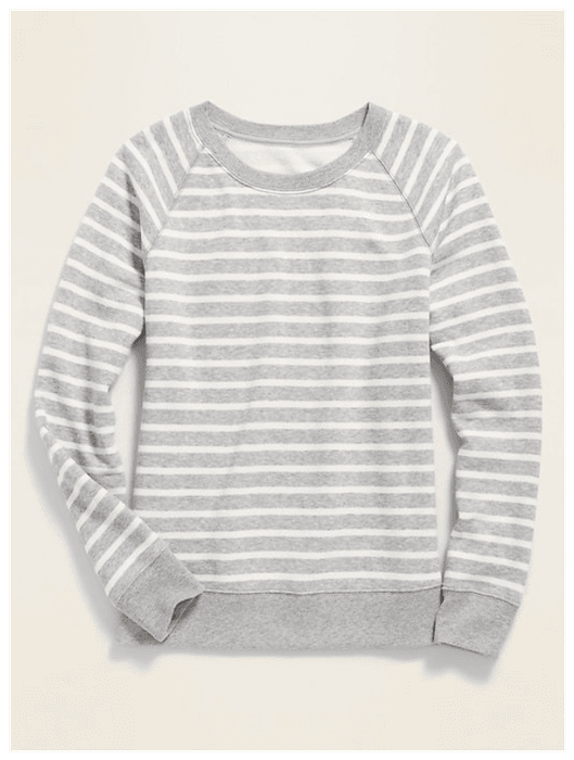 Relaxed Vintage Crew-Neck Sweatshirt in Gray Stripe, shown against light gray background