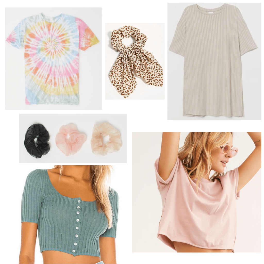 Online outfits ideas: Cute tops for video calls and online classes with scrunchies to accessorize