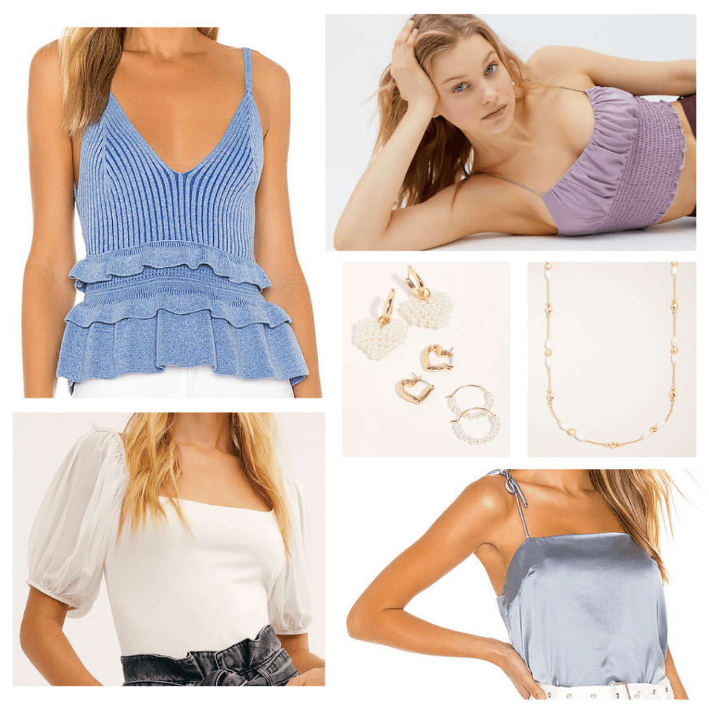 Cute online outfit for facetime date night with cute pastel tops and gold jewelry