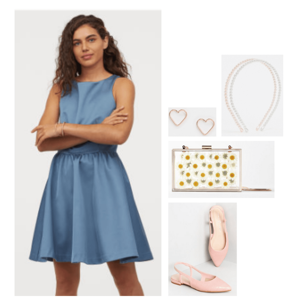 Outfit inspired by The Great: blue a-line dress, pastel pink pointed toe flat mules, dainty gold jewelry, daisy clear purse.