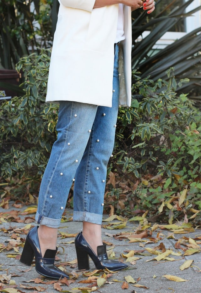 Upcycling clothes ideas: jeans with pearl beads black shoes and white coat